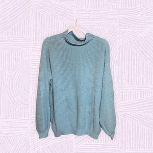 Blue cable knit mock neck sweater